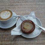 Latte and apple tartlet.