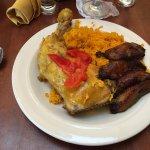 Arroz con pollo with plantains