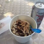 My Crispy Creme with cone pieces and chocolate sprinkles (and a Diet Coke :-)).