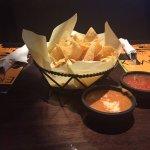 Chips, Salsa and Bean dip