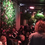 party in an upstairs bar one evening....great flower walls