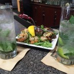Mojitos and shrimp appetizer... Awesome, fresh and flavorful