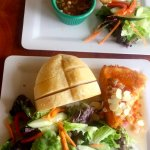 Empanadas on top and Fried Brie with salad dressed with local Soursop vinegarette (YUM) on botto