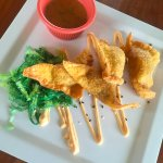 Ginger Pork Wontons with Thai Peanut Sauce and Seaweed