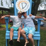 me & Mike in the big chair by the pool