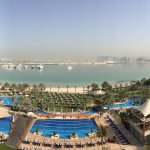 Pools and beach overlooking the Persian Gulf