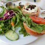 Cranberry Chicken Sandwich with garden salad