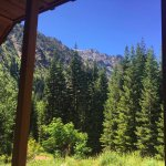 "View out the front of the ""Queen of the West"" cabin."