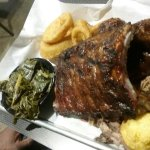 Rib Platter w/Pulled Pork, BBQ Chicken, Collards, Onion Rings and Cornbread