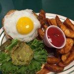Hen Den' Burger (AMAZING!) with Darrell's Fries