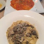 The wild mushroom pappardelle on the bottom.. Fabulous!!! The lobster ravioli above... Delish as