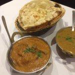 Chicken curry, Dhal curry, plain naan, garlic naan and Keema naan