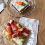 Carrot cake and fruit tart