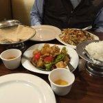 Dinner, including mu shu chicken and pineapple chicken.