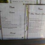 Le menu à la carte