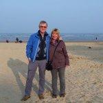 Enjoying a stroll along Weymouth beach