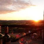 The amazing sunset and great wines.