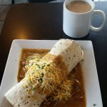 Chorizo breakfast burrito and signature coffee!