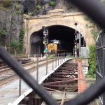 CSX roaring thru the 1931 Harpers Ferry train tunnel.