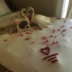 We were greeted with flowers on the floor, in the bathroom and bedroom - pure romance!