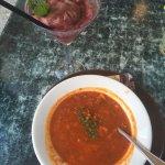 Boston clam chowder and Mint Raspberry mojito