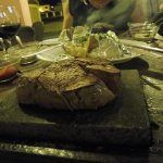steak on the stone, sorry about the green hue