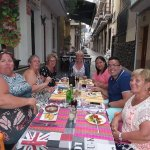 friends enjoying a lovely meal at the two palms restaurant Benidorm.