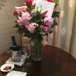 Flowers from my husband from their preferred vendor and hotel's gift amenity.