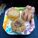 Canadian Maple , Apple Fritter, & Nutella donuts enjoyed while travelling