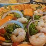 Salad with large shrimp