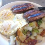 Hashed Browns, Eggs, Apple Sausage, Omega Coffee Shop, Milpitas, CA