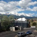 View of Pikes Peak from 3rd Floor (note hotel parking lot and industrial park next door).
