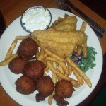 Fried catfish with extra hushpuppies and fries