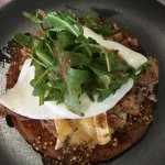 Savoury pumpkin pancakes with pulled pork, Brie and egg