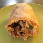 Mole pulled pork burrito with pico de gallo salsa