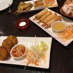 Satay, King Prawns Spring rolls, Fish cakes