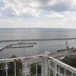 Blick vom Cafe des Rügen Hotels auf den Hafen