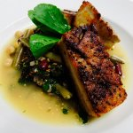 Braised Pork Belly with bean ragout, wild rice and kale