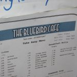 part of menu at bluebird cafe