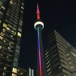 Cn Tower lit up for Orlando Shooting Victims...photo taken on the sidewalk, next to hotel...
