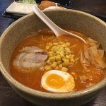 Spicy Miso Ramen bbq pork, salt tasted eggs, bamboo shoot, beansprout, cabbage, corn