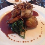 Sweetbreads, spinach, and dauphine potatoes
