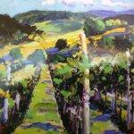 Postcard of painting in the vineyard