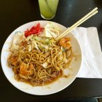 Tasty shrimp Yakisoba with sweet Teriyaki sauce! Mmmmm-Boy!