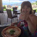 Pizza and Prosecco in the new pool bar area.