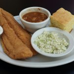 Catfish with bbq beans, coleslaw,  and cornbread.
