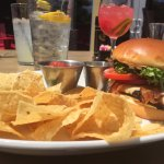 Brentwood chicken sandwich and sangria