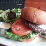 Blue cheese burger with a salad at Blue Star Cafe and Pub