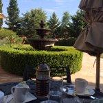 Breakfast in the patio garden.
