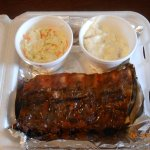 1/2 slab of namby pamby baby back ribs, 2 sides